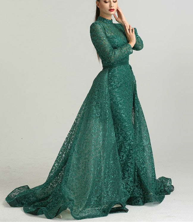 Green Long Sleeve Glitter Evening Gown