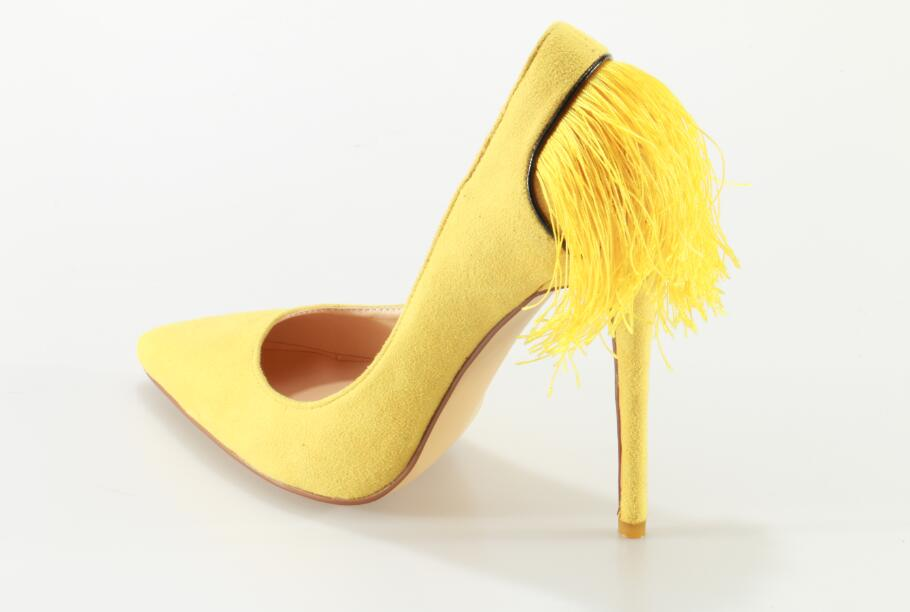 YELLOW POM POM PUMPS - $89.00