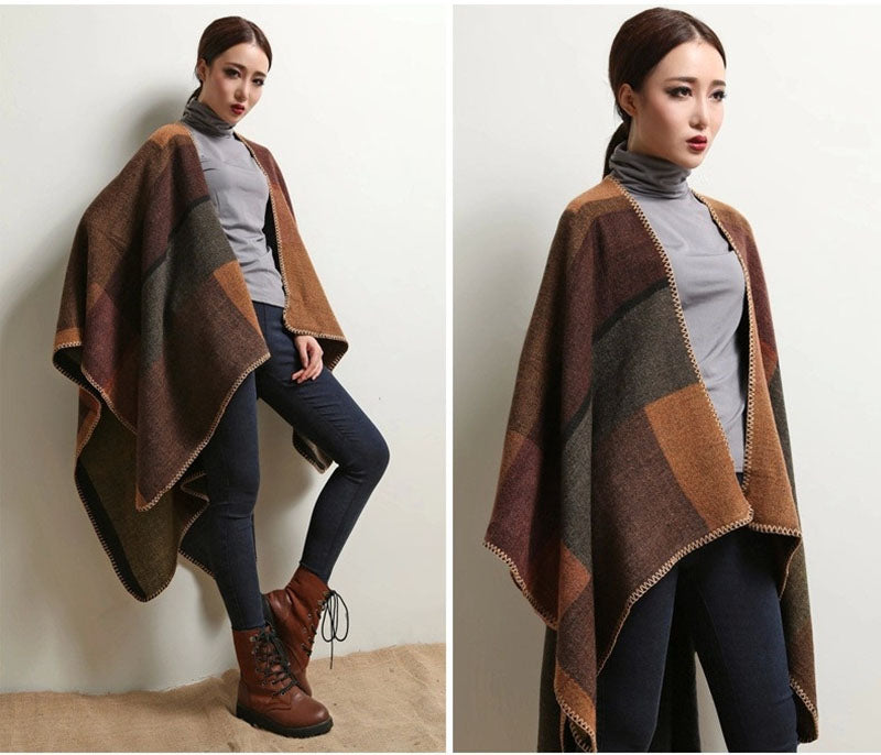 Brown Winter Vintage Blanket Cashmere Scarf Poncho