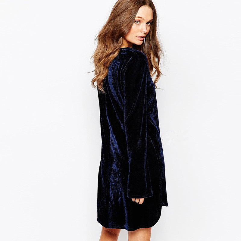 Blue Loose Mini Velvet Dress