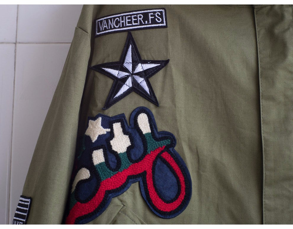 Green Army Jacket With Patches