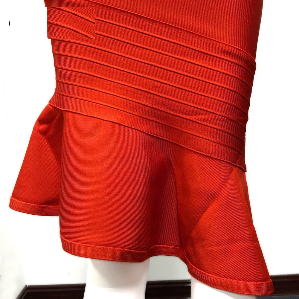 Red Bandage Dress Spaghetti Strap V-Neck with Fluted Hem