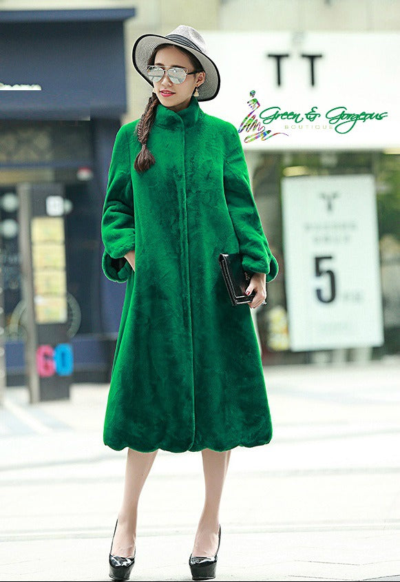 Green Long Faux Coat (Plus Sizes Available)