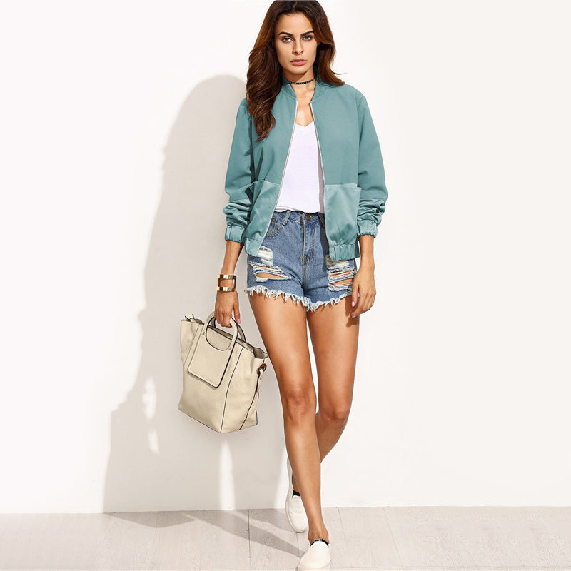 Green Collar Zip-up Bomber Jacket
