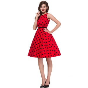 Red Vintage Rockabilly Polka Dot Print Swing Dress