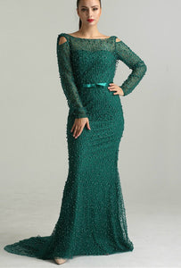 Green Mermaid Style Pearl Evening Gown