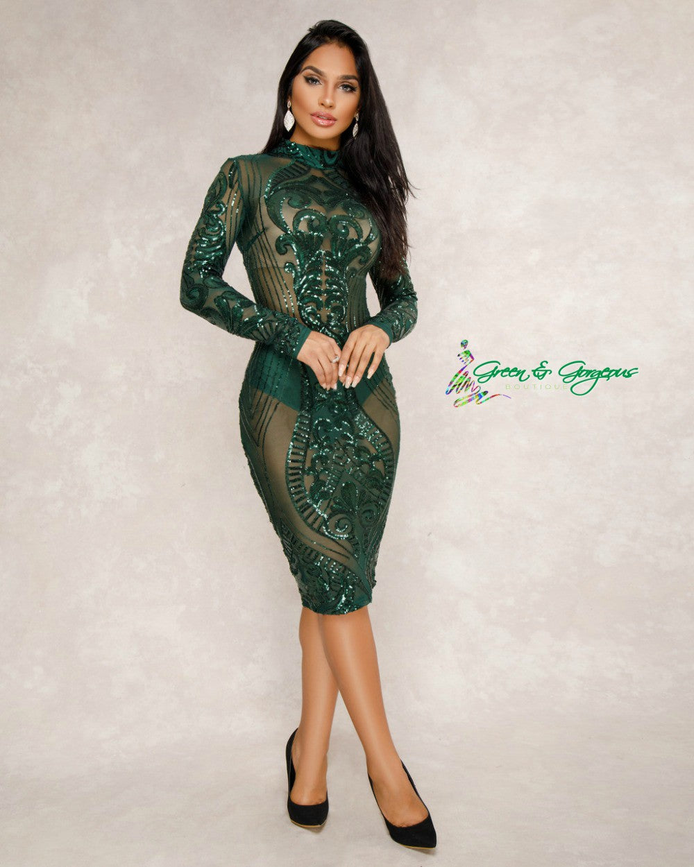 Green Long Sleeve Sequined Dress