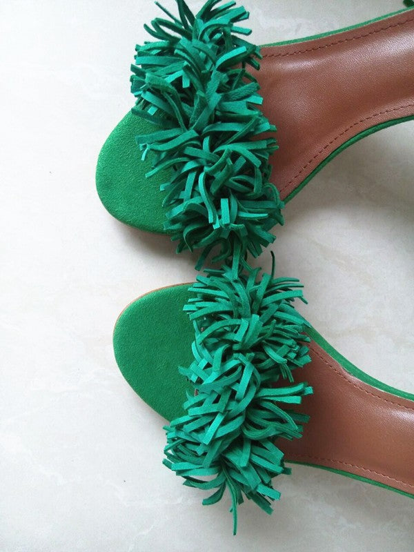 Green High Heel Fringe Gladiator