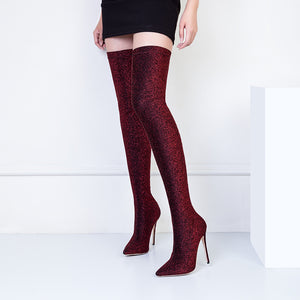 Ruby Red Thigh High Shinny Glitter Stretch Elastic Boots