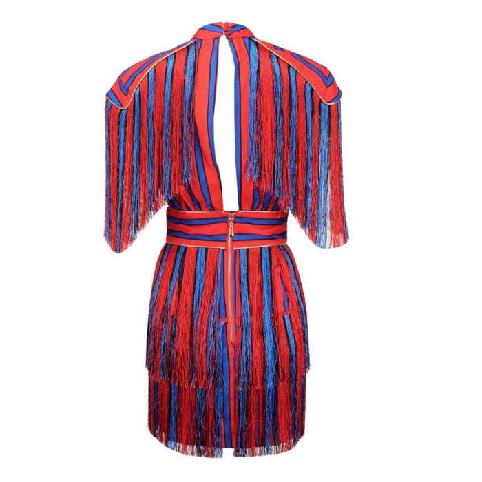 Red and Blue Tassel Striped Mini Dress