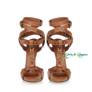 Brown Open Toe Leather Sandals