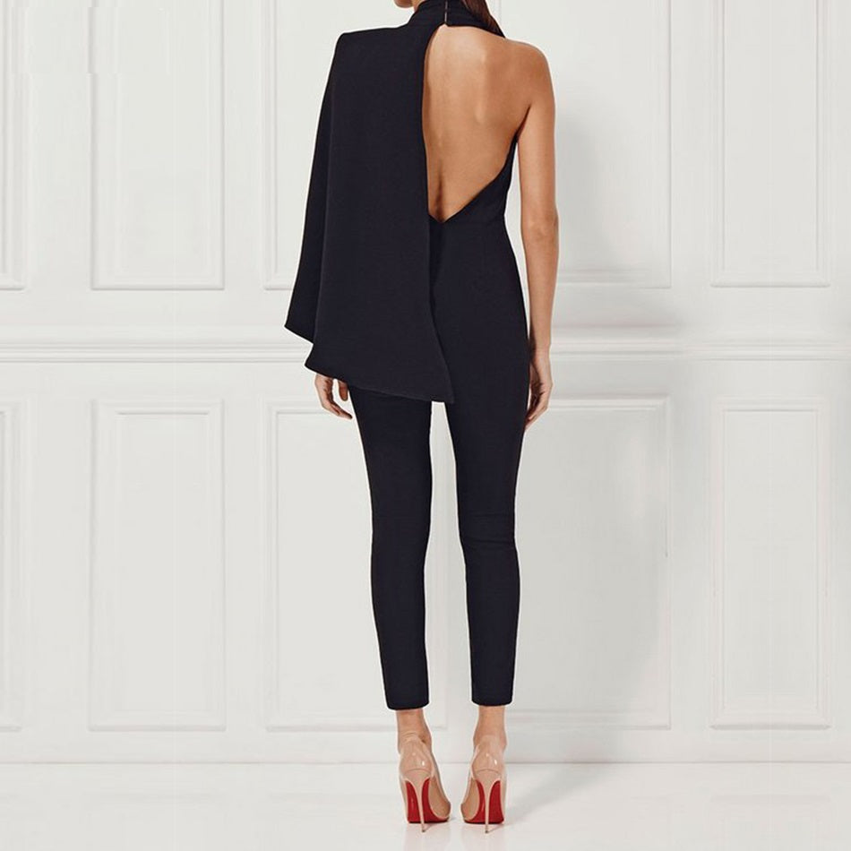 Black Cape Shoulder Jumpsuit