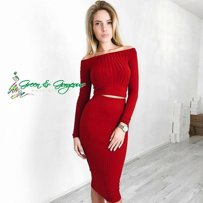 Red Long Sleeve Off Shoulder Two Piece Skirt Set