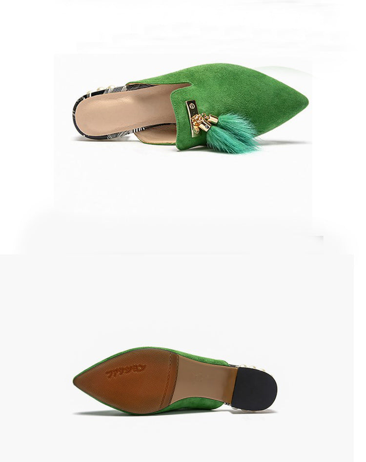 Green Pointed-Toe Mules