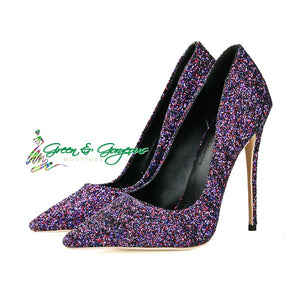 Purple Glittered Pointed High Heels