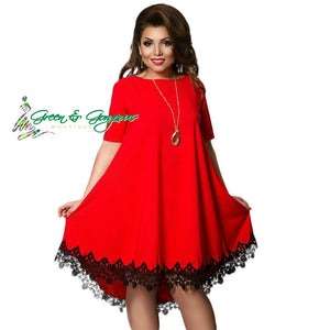 Red Plus Size Women Elegant Loose Fit