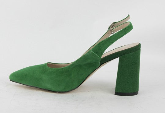 Green Suede Pointed-toe Slingback High Heels