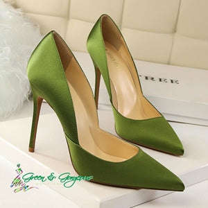 Green Pointed-Toe Satin Pumps