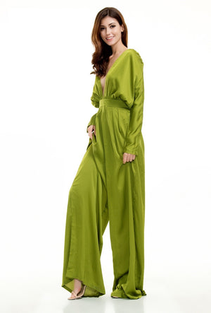 Green Loose High Waist Jumpsuit