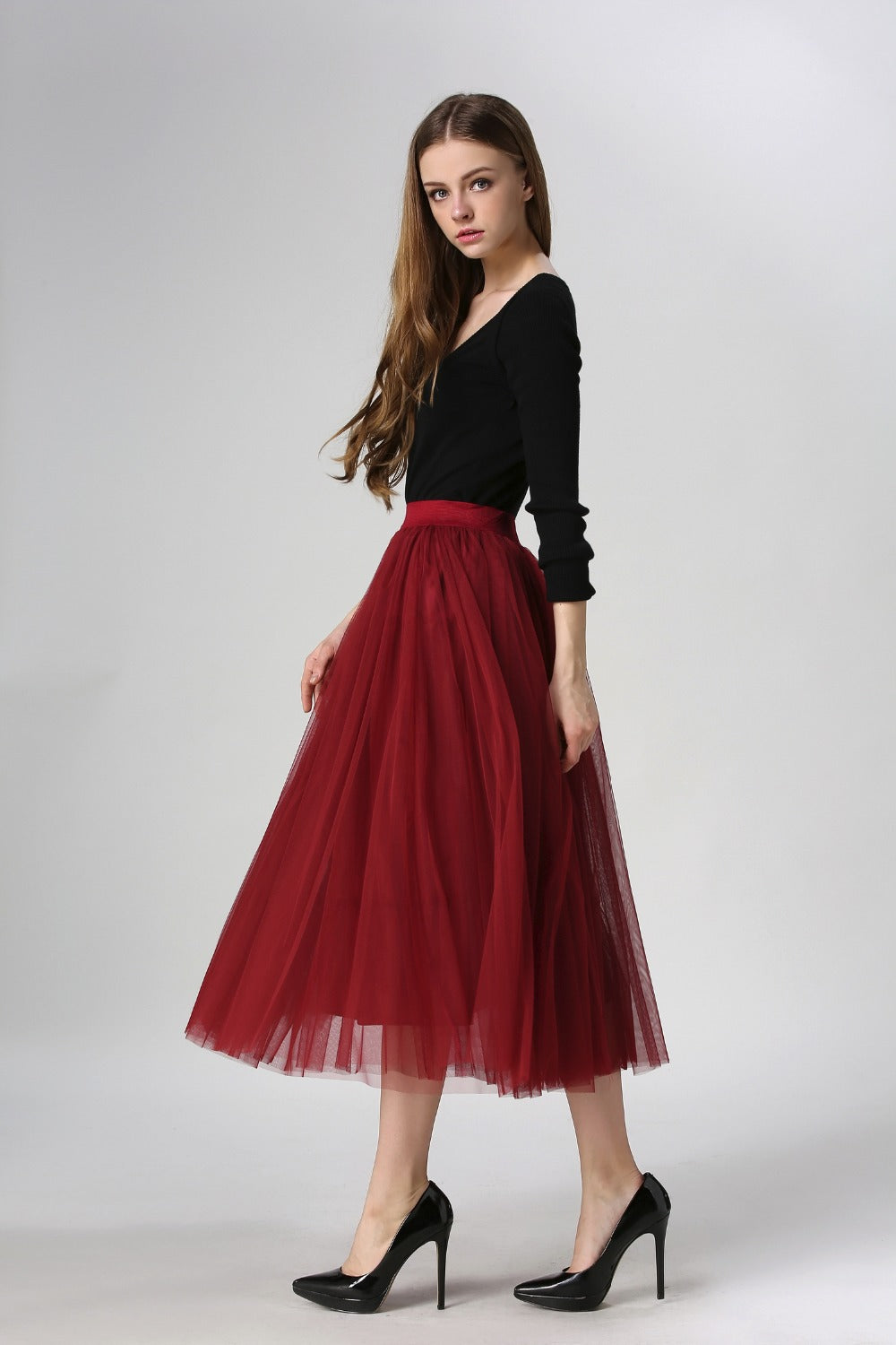 Red High Waist Tutu Tulle Skirt