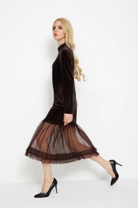 Brown Long Sleeve Tulle Dress