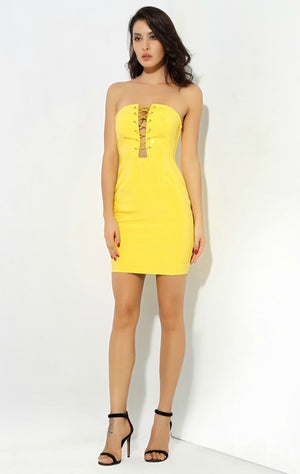 Yellow Cross Strips Dress