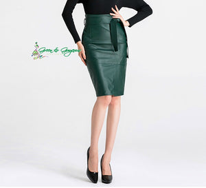 Open image in slideshow, Green Leather Pencil Skirt