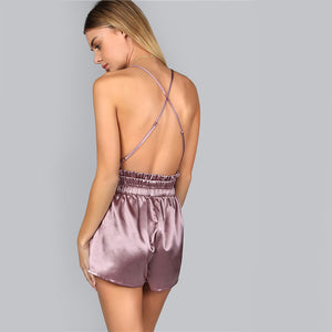 Purple Crisscross Back Romper