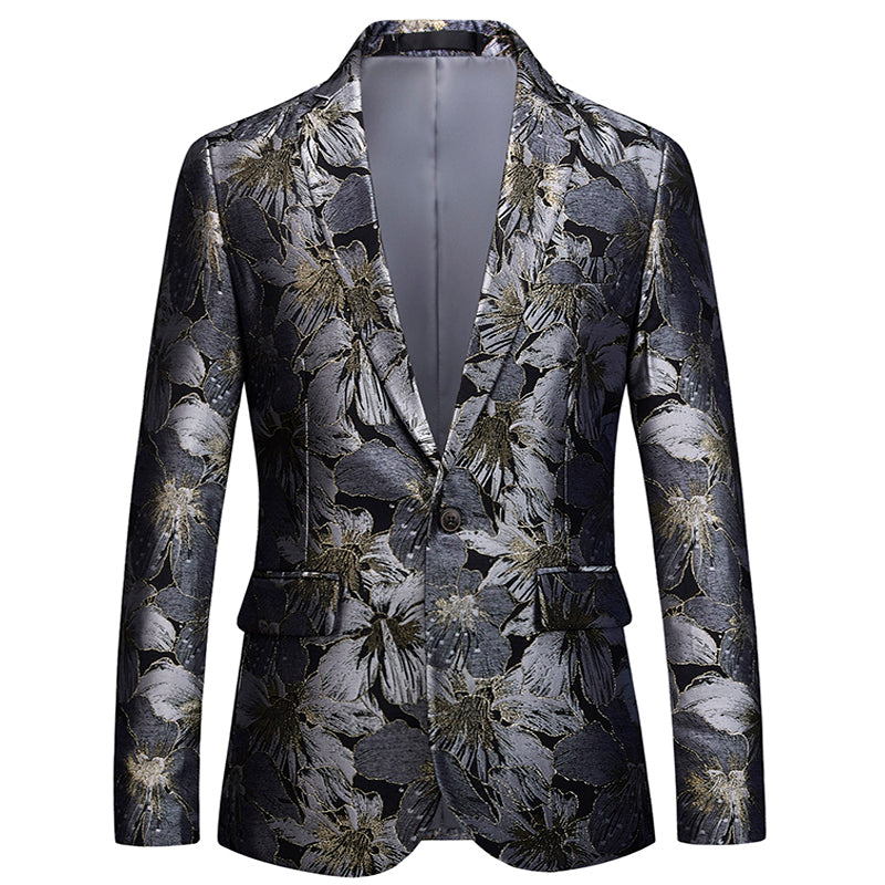*NEW* Men's Shiny Silver Floral Pattern Printed Blazer | Black- $165.00