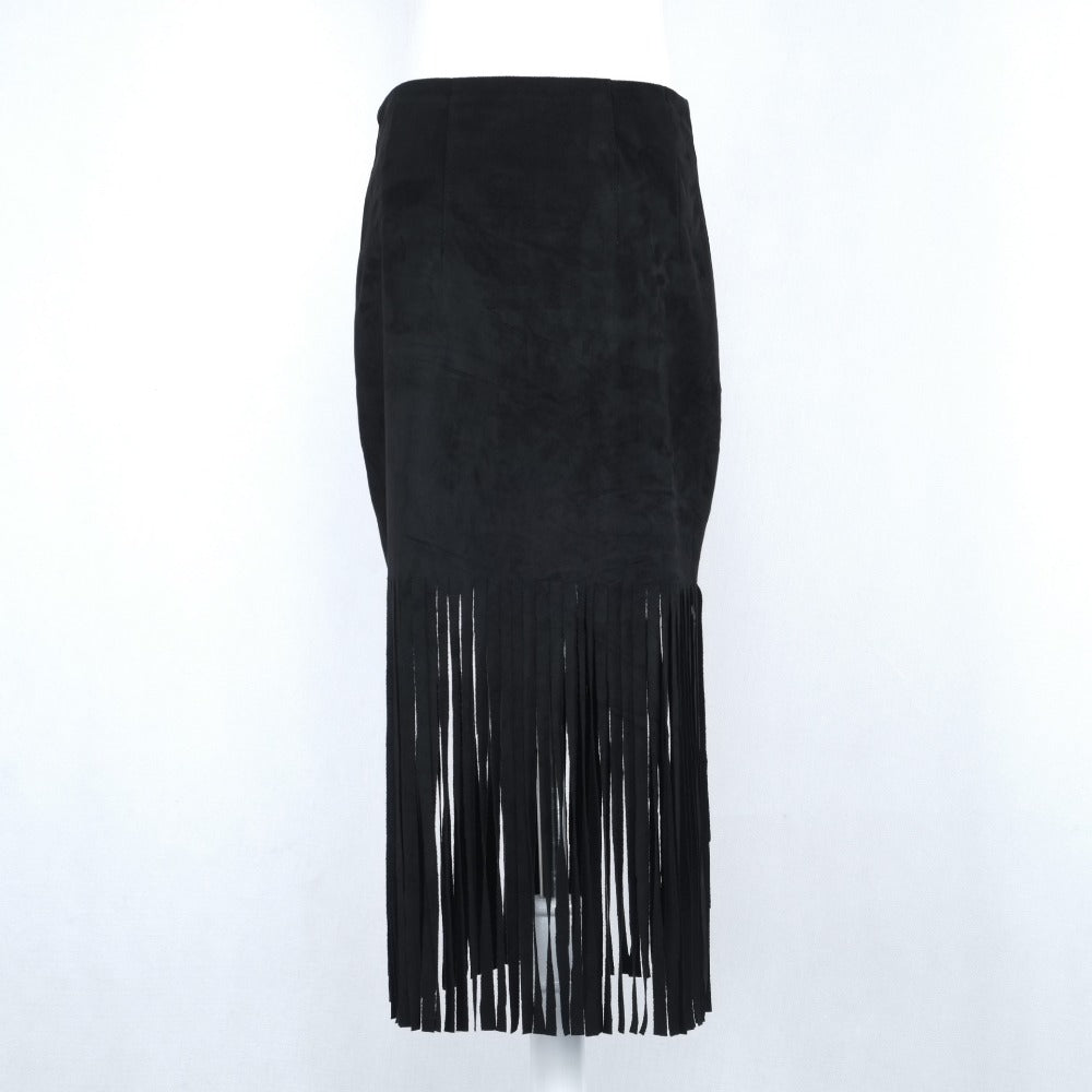 Black Fringed Suede Skirt