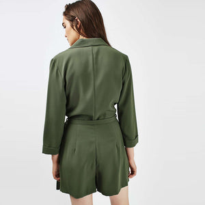Green Military Styled Jumpsuit