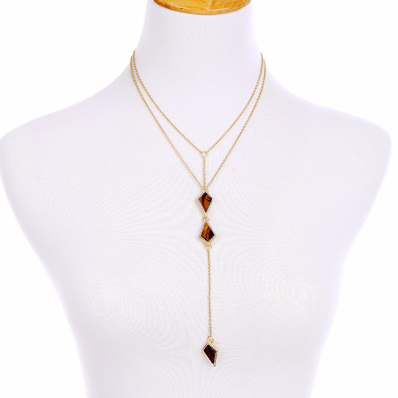 Long Brown Pendant Necklace