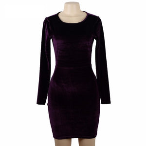 Purple Velvet Mini Dress