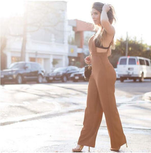Brown Sleeveless Jumpsuit