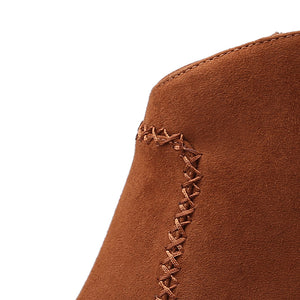 Brown Suede Ankle Boots Chunky High Heels Western Cowboy Booties
