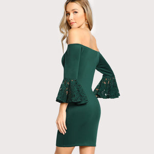 Green Evening Off-The-Shoulder Dress