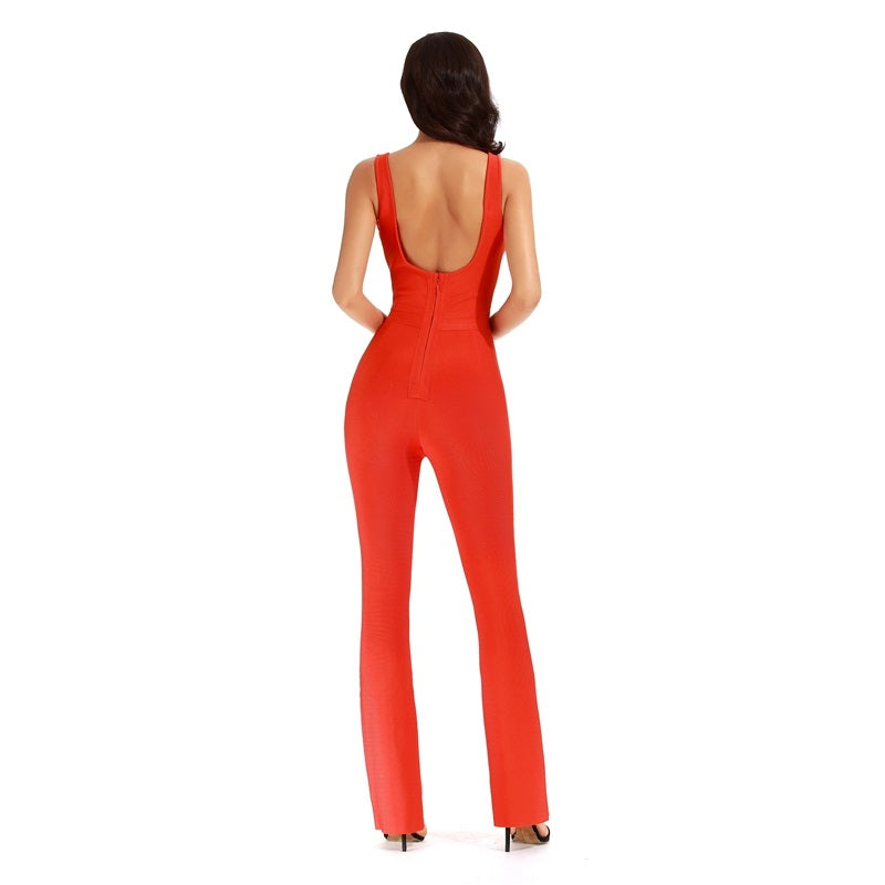 Red Bandage Romper Rayon Spandex  V-Plunge Bodycon Jumpsuit