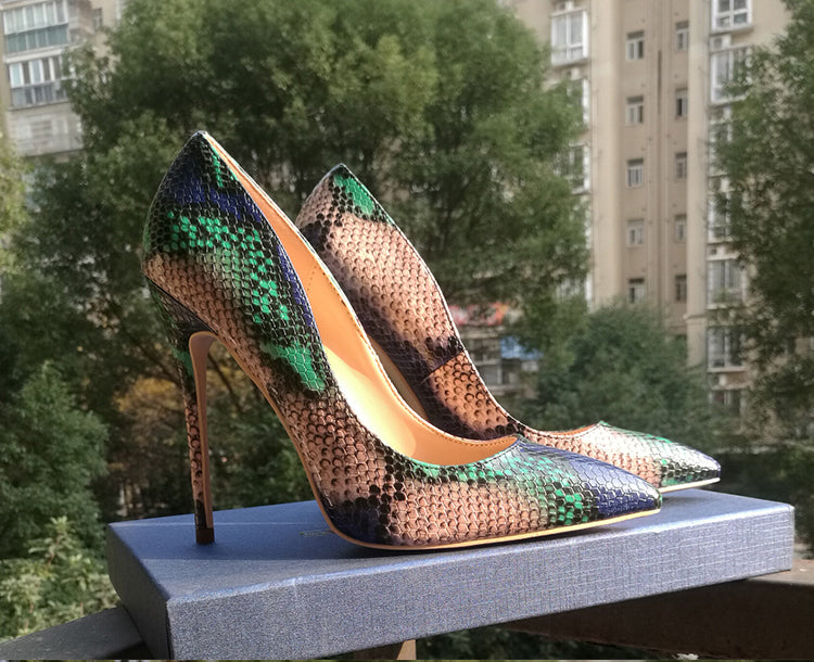 Green +Blue + Tan Snake Print Heels