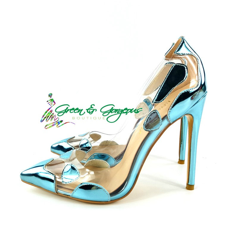 Blue Lucite Pumps