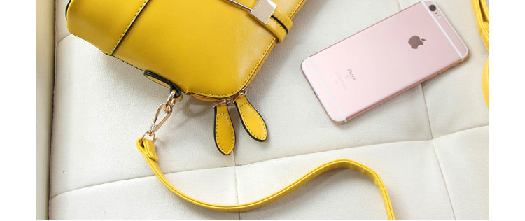Yellow Women Messenger Bags Leather Shell Bag