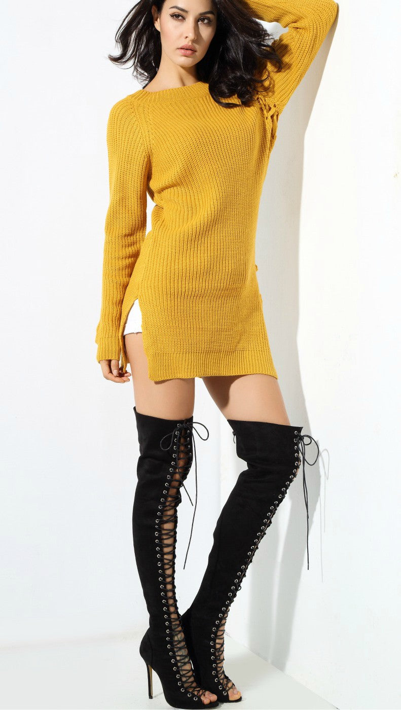 Yellow Round Neck Side Sweater