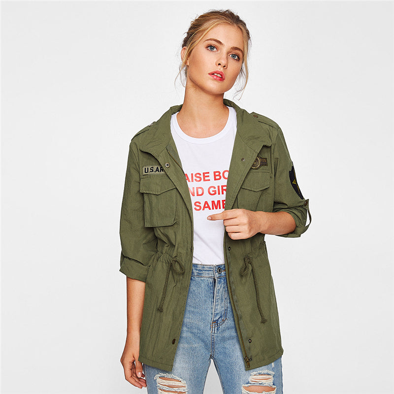 Green Patchwork Utility Jacket