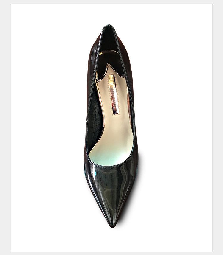 Black Pearl Color Pumps Metal Toe Tips