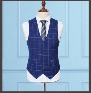 Blue Plaid Men's Suit (Jacket+Pants+Vest) - $225.00
