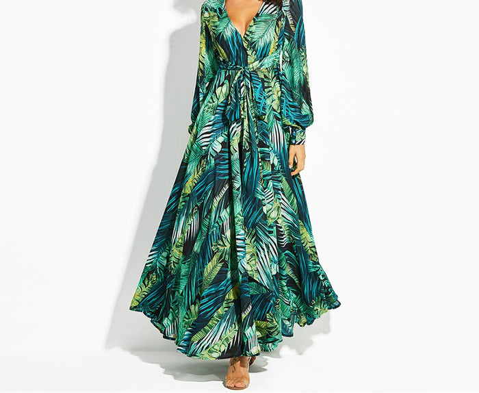 Tropical Green Vintage Maxi Dress
