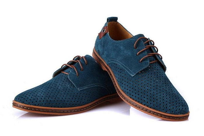 Blue Men's Oxfords  Breathable Suede Leather Shoes (British Cut) - $159.00