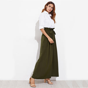 Green Belted Wide Leg Pants