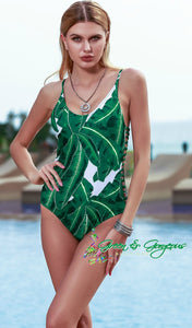 Green Leaf One-Piece Swimsuit