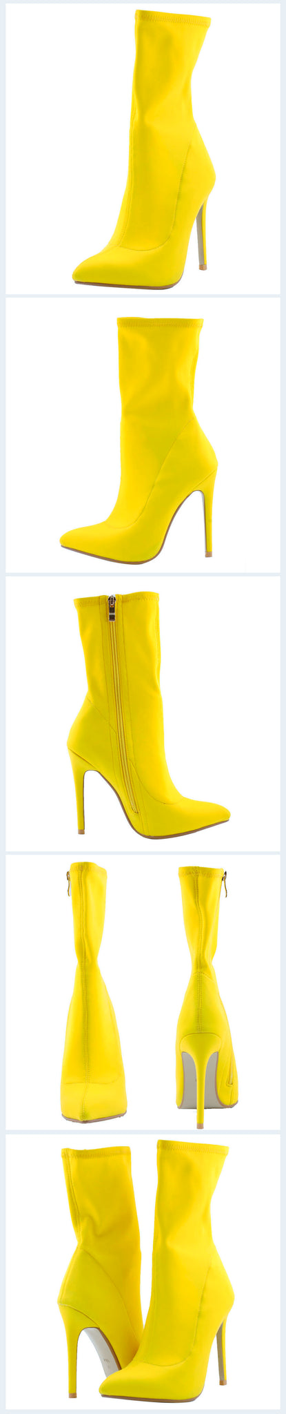 Yellow Zipper Mid Calf Heels Boots Pointed Toe Stiletto