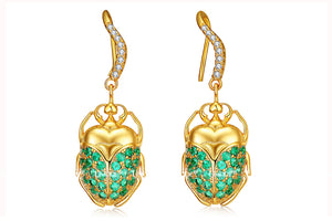 Green and Gold Beetle Earrings